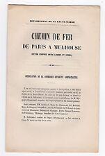 1854 HAUTE MARNE  CHEMIN DE FER PARIS MULHOUSE RARE
