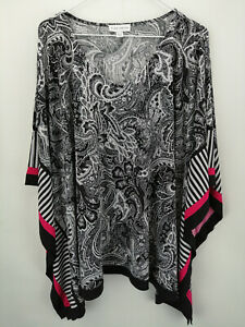 Susan Graver Printed Liquid Knit Scarf Top Black/Pink L A350996