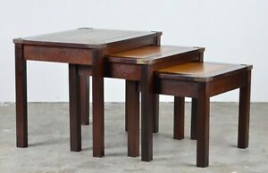 MILITARY CAMPAIGN MAHOGANY COFFEE TABLE TAN LEATHER SURFACE