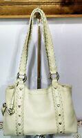 """Women's Super Cool Large Ivory Leather """"BRIGHTON"""" Designer Shoulder Bag Purse"""