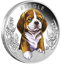 2018 Puppies - Beagle Tuvalu 1/2 oz Silver Proof 50c Half Dollar Coin Colorized