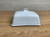 """Dema Simplicity White Porcelain Butter Dish Lidded 6"""" x 4"""""""