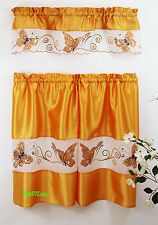 """Butterfly Sequins© 3Pc Kitchen Curtain Set 36"""" In - Assorted Colors By Mystique®"""