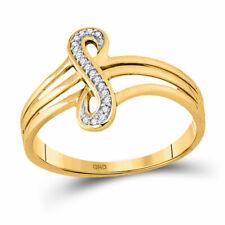 10k Yellow Gold Womens Round Diamond Vertical Infinity Strand Ring 1/20 Cttw