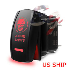 Red LED Zombie Skull Waterproof ROCKER SWITCH LASER ETCHED 12v 20a 5 PIN CAR