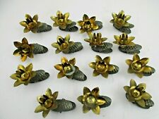 16 Vintage Christmas Tree Metal Clip On Pinecone Candle Holders - West Germany