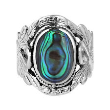 Beautiful Couple Swan Oval Abalone .925 Silver Ring-9