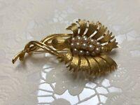 Vintage Signed Lisner Brooch Pin Gold Tone Pearl Flower Bud Retro Estate Costume