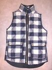 J CREW WOMEN'S EXCURSION QUILTED PUFFER VEST BUFFALO CHECK NWT XXS #E0829 NAVY