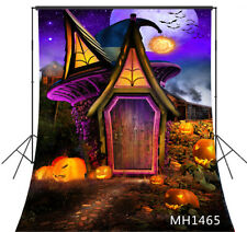 Halloween Night Pumpkin Fairy Wood House Backdrop 5x7ft Vinyl Photo Background