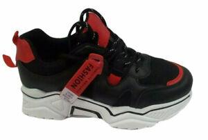 Plateau Sneaker Turnschuhe Laufschuhe Outdoor Boots Schwarz FF-8 Rot Gr 37