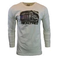 REALTREE Mens Long Sleeve T Shirt Hunting Camo American Flag Logo Deer Barn NEW