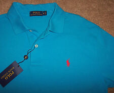 NWT Polo Ralph Lauren Turquoise CARIBBEAN BLUE Mesh Shirt Men's S Red Pony $85