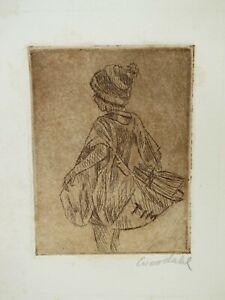 FRANCIS WOODAHL American California artist newspaper boy vintage etching