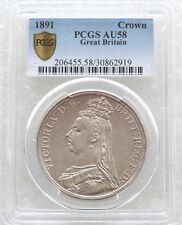 1891 British Queen Victoria Jubilee Head Silver Crown Coin PCGS AU58