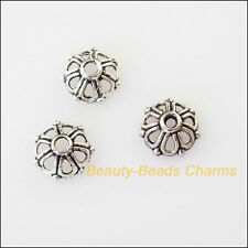 50Pcs Tibetan Silver Tone Tiny Flower End Bead Caps Connectors 7.5mm