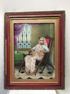 Vintage Water Color Painting Old Lady Sitting On Chair Art Work By A.& Kazi Old