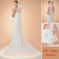 Wedding Veils Lace Edge Ivory Fingertip Length Bridal Veils w/ Comb 1/2 Layers