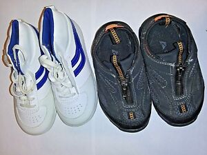 2 Pairs Toddler Boys Size 8 Shoes Blue White Tennis Shoes and Zipper Black Shoes