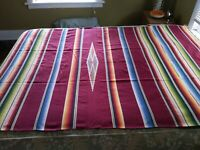 ANTIQUE VERY FINE WOVEN MEXICAN SALTILLO SERAPE WOOL RUG BLANKET WALL HANGING