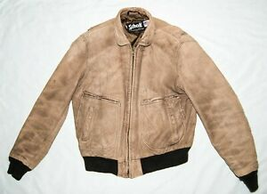 Schott 46 Long Vintage Leather Bomber Jacket Brown Men's Made in USA
