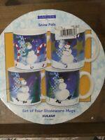 New SAKURA Snow Pals Set of 4 Stoneware Coffee Mugs Snowman Winter Christmas