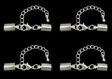 4 x Premium Leather Kumihimo Brass Glue in Cord End Clasp Ext.Chain - lady-muck1