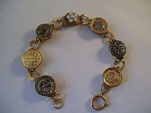 Vintage Button Bracelet ES DEVS SPES NOSTRA Hand Made OOAK God is our Hope