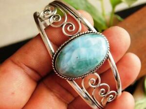 Natural Real Larimar Gemstone 925 Sterling Silver Plated Handmade Women Bangles