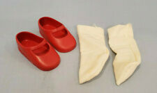 Pair of Vintage Shirley Temple 1972 Red Vinyl Shoes by Ideal w/ Socks
