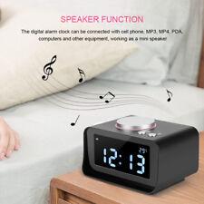 Portatile Digitale LCD Radio sveglia FM con altoparlante ricarica USB nero