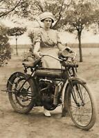 Antique Photo... Woman w/ Flying Merkel Motorcycle ... Photo Print 5X7