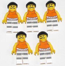 Lego 5 New Police Jail Prisoner Striped Legs Minifigure Figure Black Knit Cap