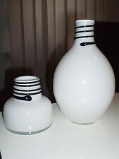 Glasvase Weiß Schwarz Faden Glasfaden Vase Poschinger Stil ? Vase Murano Stil ?