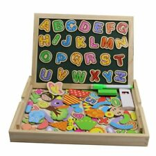 Magnetic Board Puzzle Games Wooden Double Side Drawing Writing Board Kids Learni