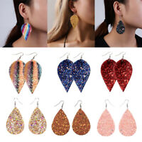 Women Bling Leaf Teardrop Leather Earrings Teardrop Pendant Ear Hook Fashion