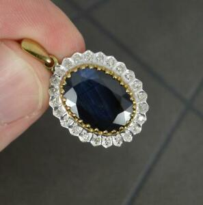 Large 9ct Gold Natural Sapphire and Diamond Pendant