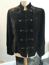 Steam Punk Jacket, Brown, Velvet Military Look, fitted size 14