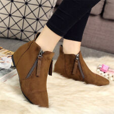 Women's Fashion Flat Short Ankle Boots Solid Color Pointy Toe Casual Suede Shoes