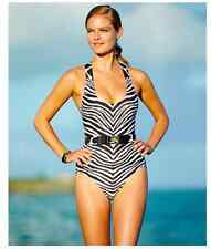 NWT Michael Kors Maillot Zebra Animal Print Belted One-Piece Swimsuit Women's 4