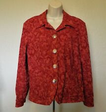 Coldwater Creek Jacket PL Red Floral Textured Long Sleeve Buttons Cotton Blend
