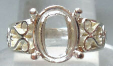 Size 9  PRE-NOTCHED SOLID 925 SILVER 9×11 mm OVAL RING MOUNT / SETTING #R613