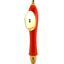 Pub Style Beer Tap Handle with Oval Shield - Red - Draft Beer Kegerator Knob