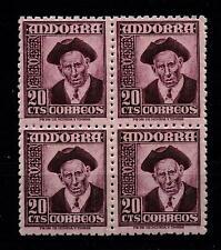 ANDORRA ESPAÑOLA 48** BLOQUE 4 SELLOS 20 CENTIMOS 1948