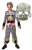 Boys Girls Zombie Skeleton Prisoner Convict Inmate Halloween Fancy Dress Costume