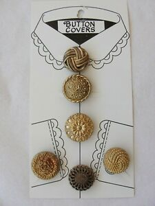 Vtg Womens BUTTON COVERS  ~Faux Gold Button Covers ~NOS
