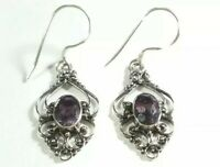 "AHM 925 STERLING SILVER INTRICATE FILIGREE PURPLE AMETHYST 1 7/16"" HOOK EARRINGS"