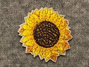 Sunflower Embroidery Iron On Patch Badge AppliqueSun Flower Petals Plants Small