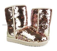 UGG Classic Short Sequin Gold Combo Sparkles Boots Womens Size 8 *NIB*