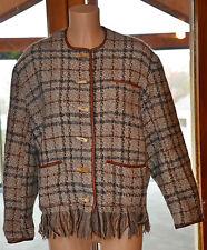 LOLITA LEMPICKA jolie veste hiver en laine et cuir boutons en corne T 2 (M-40)